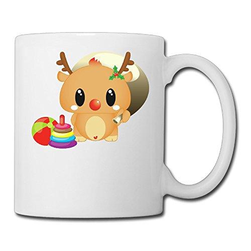 White Adorable Reindeer Ceramic Coffee Tea Cup 11oz
