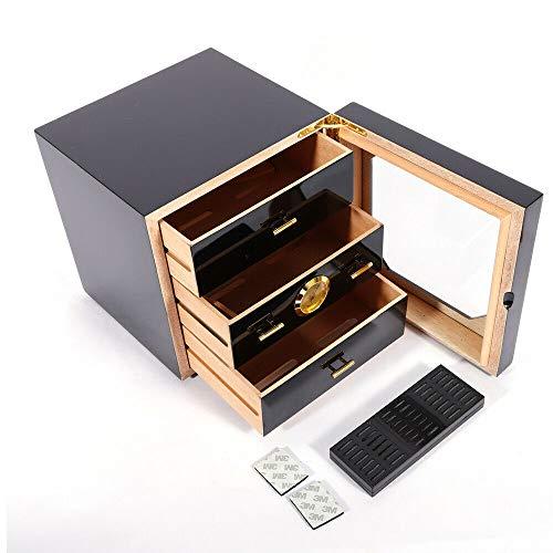 - Senderpick Humidor Black Gloss Piano Finish Cedar Wood Lined Cigar Cabinet Humidor w/Humidifier Luxury 3 Drawers 100 Cigars for Cohiba