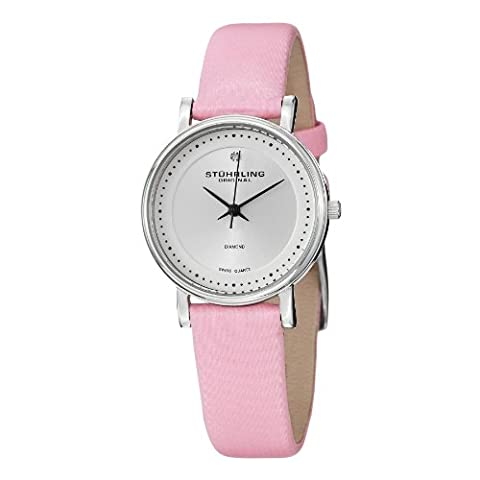 Stuhrling Original Women's 734L.01 Lady Castorra Diamond-Accented Watch with Pink Leather Band (Pocket Watch Stuhrling)