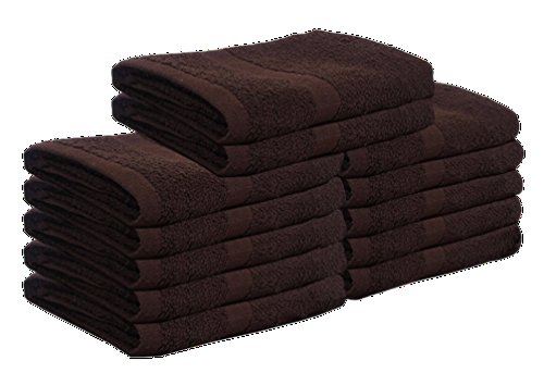 Cotton Bleach Proof Salon Hand Towels (12-Pack,Brown,16