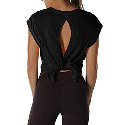 Witspace Women Open Back Workout Top Shirts Yoga Activewear Exercise Tops T Shirts ()