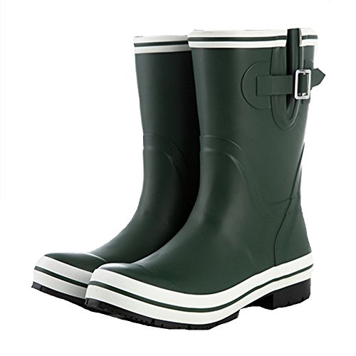 sexy Rubber Rain Boots Women's Classic Fashion Rain Boots Slip Waterproof Boots Wear-resistant Cover Adult Water Shoes (Color : Black, Size : EU39/UK6.5/CN40) Green