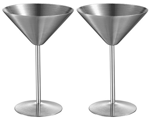 Visol Charlotte Stainless Steel Martini Glass (2 Pack), Silver