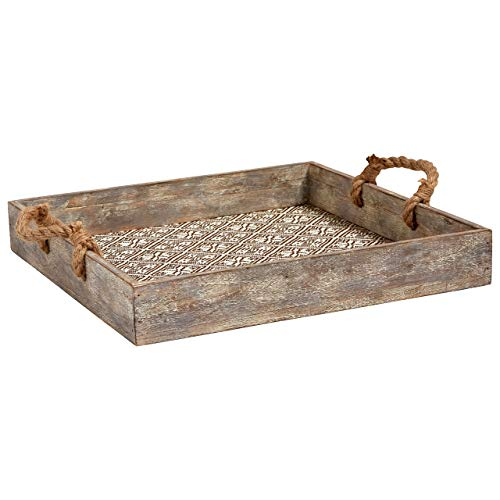 15.75 Inch Tray - Stone & Beam Rustic Farmhouse Wood Serving Tray With Patterned Rattan and Rope Handles - 15.75 x 15.75 Inches, Brown and White (Renewed)