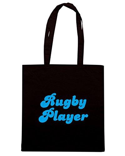 T-Shirtshock - Bolsa para la compra TRUG0122 retro rugby player blue logo Negro