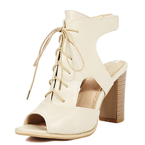 Mode Hiel Dames Dikke Hak Peeptoe Lace Up Slingback Magic Tape Sandalen Beige