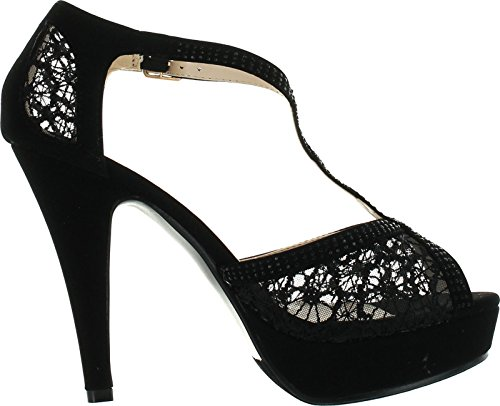 Hy Stiletto Party Top Strap High Pumps Moda 5 Formal Heel Toe Ankle Evening Lace Black T Peep 5qH7Tw