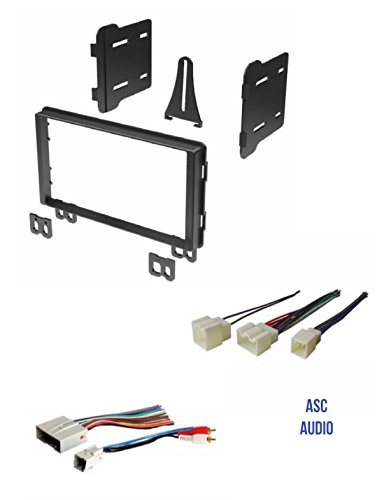 ASC Audio Double Din Car Stereo Radio Install Dash Kit and Wire Harness for select Ford Lincoln Mercury Vehicles - Compatible Vehicles Listed Below (Ford Radio Plugs)