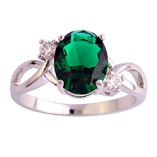 Psiroy Women's 925 Sterling Silver 3cttw Emerald Quartz May Birthstone Filled Ring (Can Can Sally Child Costume)