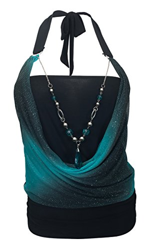eVogues Plus Size Glitter Print Necklace Accented O-Ring Strap Top Teal - 1X ()