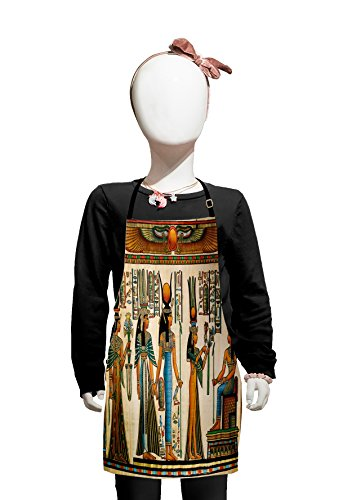 Lunarable Egyptian Kids Apron, Egyptian Papyrus Depicting Queen Nefertari Making an Offering to Isis Image Print, Boys Girls Apron Bib with Adjustable Ties for Cooking Baking and Painting, Multicolor]()