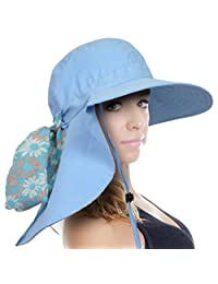 Sun Blocker Women's Sun Hat Wide Brim UPF50+ Beach Fishing Boating Neck Flap Cap