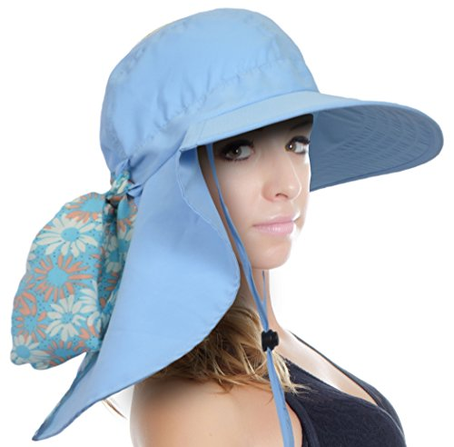 Sun Blocker Women's Sun Hat with Neck Flap Wide Brim Beach Travel Cap Blue One ()