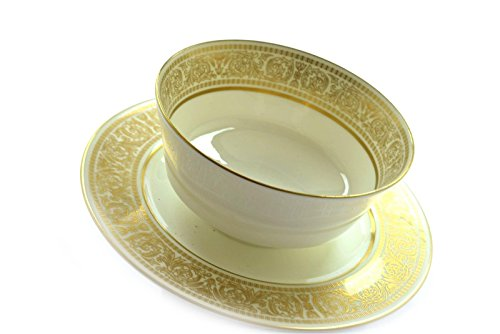 Mikasa Oberlin 113 Japan Ivory Gold Gravy Sauce Bowl w/ Attached Underplate