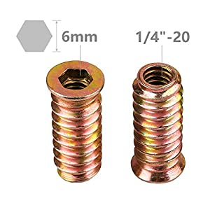 40Pcs Anwenk 1/4-20 x 25mm Furniture Screw in Nut Threaded Wood Inserts Bolt Fastener Connector Hex Socket Drive for Wood Furniture Assortment (with Hex Spanner) (Color: 1/4-20 x 25mm Furniture Screw)
