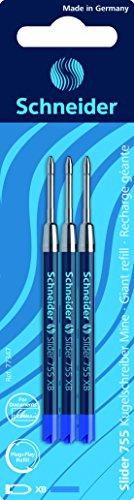Schneider Schreibgeräte Kugelschreibermine Slider 755, dokumentenecht, XB, blau, 3er Blisterkarte