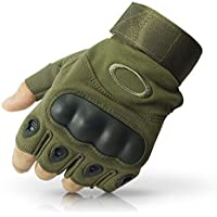LATUKI Nylon Tactical Half Finger Gloves for Sports, Hard Knuckle,Hiking,Cyclling,Travelling,Camping,Outdoor,Boxing, Motorcycle Riding, Arm Shooting Gym Gloves   Army Green Colour