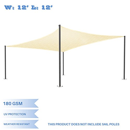 E&K Sunrise 12' x 12' Beige Sun Shade Sail Square Canopy - Permeable UV Block Fabric Durable Patio Outdoor Set of 1 by E&K Sunrise