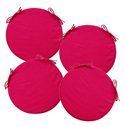 Lot de 4 Galettes de chaises rondes déhoussables et avec attaches - Spécial Extérieur - Coloris ROSE Framboise