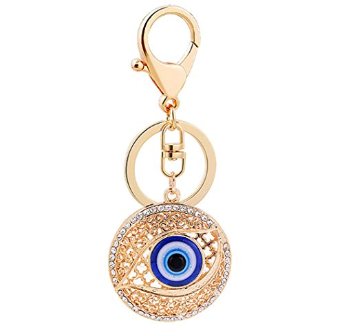Price comparison product image Aibearty Creative Fashion Evil Eye Rolling Ball Classic Gold Plated Keychain Bag Charm Crystal Car Accessories (gold)