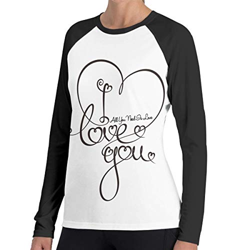 SARA NELL Valentines Day All You Need is Love Heart Women's Raglan Long Sleeve Shirt Top Tees ()