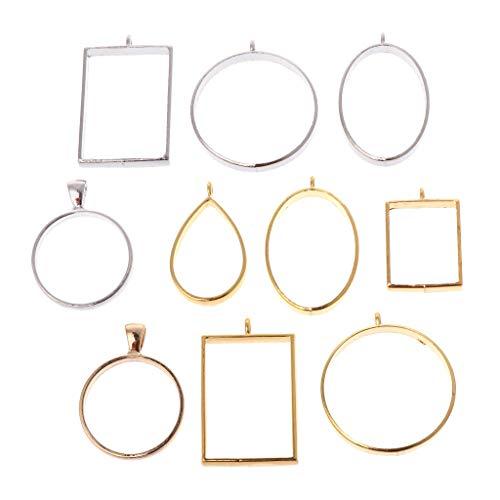 (Misright 10 Pcs/Set Hollow Open Back Bezel Pendant, Open Back for Resin,Open Back Frame for UV Resin Crafts Jewelry Making)