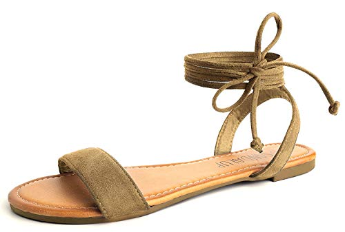 SANDALUP Tie Up Ankle Strap Flat Sandals for Women Brown 08 (That Straps Tie)