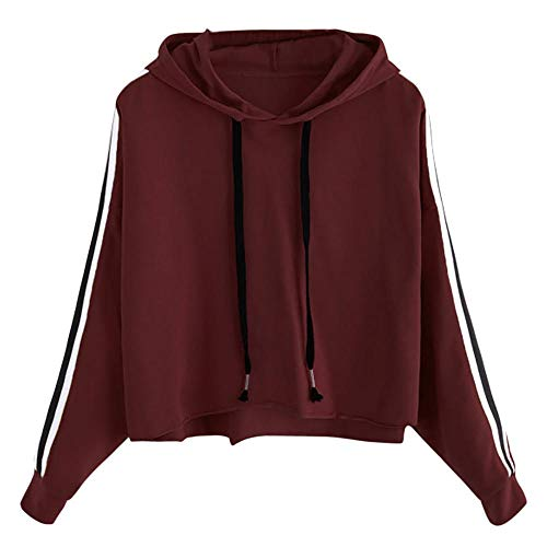 HGWXX7 Women Sweatshirt Casual Striped Long Sleeve Jumper Hooded Pullover Crop Tops Shirt Blouse