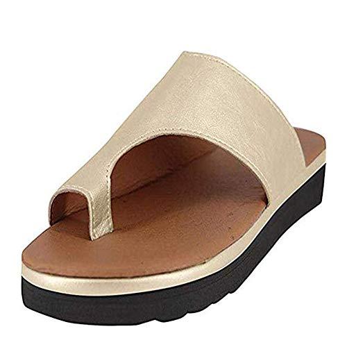Fullyy 2019 New Women Comfy Platform Sandal Shoes Summer Beach Travel Shoes Fashion Sandals Heel Massage Soft Bottom Non-Slip (Gold,41)
