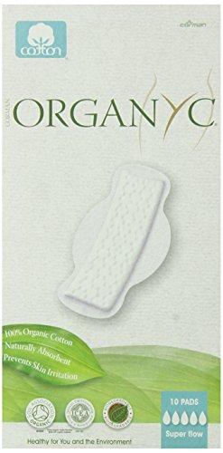 Organyc 100% coton biologique Super Flow Pads, plat, avec des ailes, 30 Count