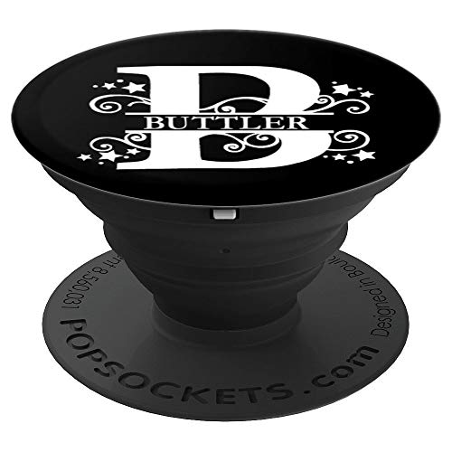 Butler Monogram Letter B White On Black - PopSockets Grip and Stand for Phones and ()