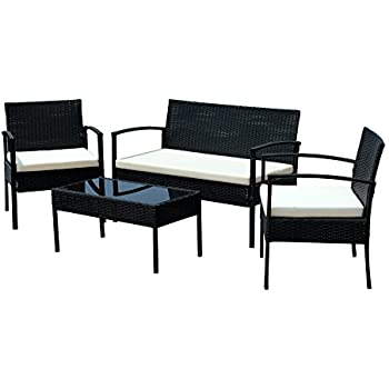 This Item IDS Home Compact Garden Lawn Outdoor/Indoor 4 PC Rattan Patio  Wicker Furniture Set With Coffee Table Cream Cushions