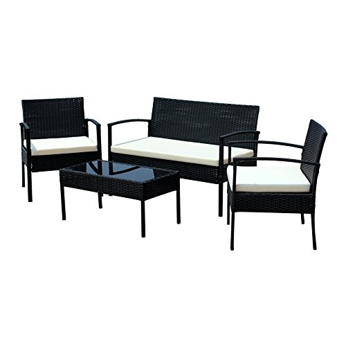 Ids Home Compact Garden Lawn Outdoor Indoor 4 Pc Rattan Patio Wicker Furniture Set With Coffee