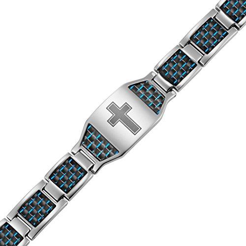 Men's Christian Cross Titanium Magnetic Bracelet with Blue Carbon Fiber by Willis Judd by Willis Judd (Image #1)