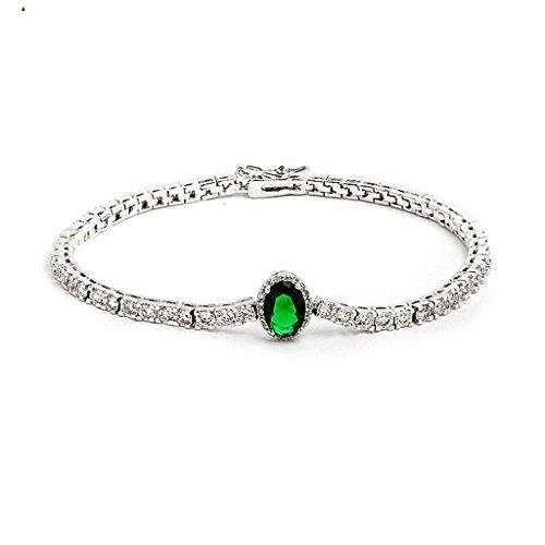 (Daesar Gold Plated Bracelets Womens Charm Bracelet Red White CZ Bracelet Oval Bracelet for Women Length:19CM )