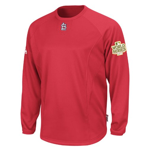 Mens Therma Base Fleece Pullover - MLB Men's St. Louis Cardinals Therma Base Tech Fleece Pullover With World Series Patch (Pro Scarlet/Pro Scarlet, Small)