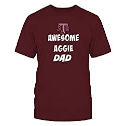 FanPrint Texas A&M Aggies T-Shirt - Texas Aggie Awesome Dad - Men's Tee/Maroon/L