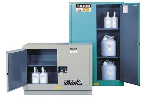 Justrite 8930222 ChemCor Steel 2 Door Self-Close Lined Corrosive Safety Cabinet, 30 Gallon Capacity, 43