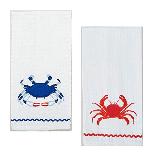 - Loving Home Beach House Nautical Blue Crab and Red Crab Waffle Weave Cotton Dishtowel Set of 2 Tea Towels