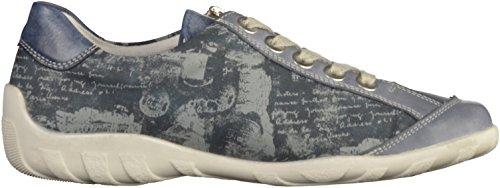 Señoras de la zapatilla de deporte de cuero azul Remonte tamaño 36-43 R3435-14 Azul