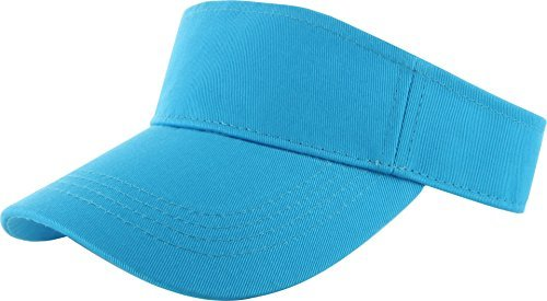 Plain Men Women Sport Sun Visor Adjustable Velcro Cap ( 29+ Colors) (Blue Team Visor)
