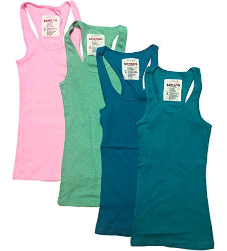 Zenana Outfitters 4 Pack Womens Basic Ribbed Racerback Tank Top (Small, Neon Pink, Heather Green, Emerald, ()