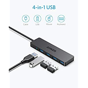 Anker 4-Port USB 3.0 Ultra Slim Data Hub with 2 ft Extended Cable for MacBook, Mac Pro/Mini, iMac, Surface Pro, XPS, Notebook PC, USB Flash Drives, Mobile HDD, and More