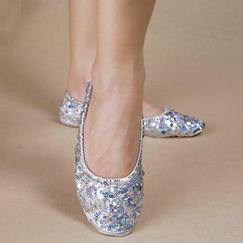 Calcifer® marca nueva egipcio Egipto zapatos de danza del vientre disfraz regalo para gran fiesta Navidad plata