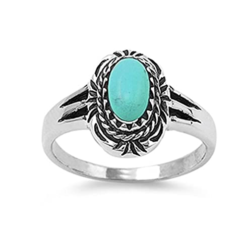 Sterling Silver Women's Simulated Turquoise Vintage Oval Ring (Sizes 5-10) (Ring Size 10) (Vintage Ring Size 5)