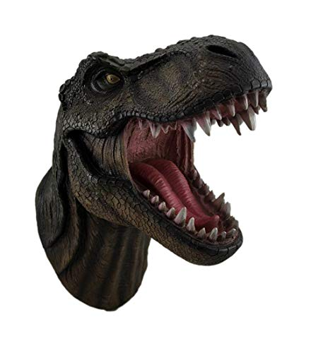 - DWK - Jurassic King T-Rex Tyrannosaurus Rex Dinosaur Wall Mounted Head Statue Bust - 15 Inches Long