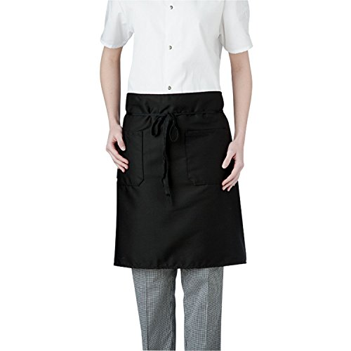 (Chefwear Chef Apron for Men & Women, 2-Pocket Mid-Length Stain and Wrinkle Resistance, Black )