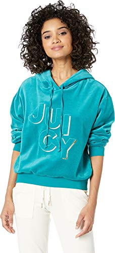 Juicy Couture Women's Juicy Embossed Velour Hooded Pullover Castle Green X-Large