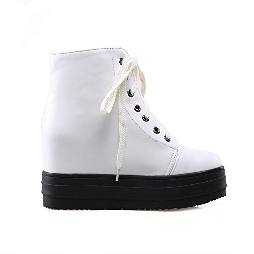 High Heels Toe Boots Women's Round Up Low Closed PU White WeenFashion Top Lace 0YqnBwU
