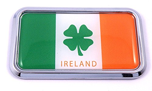 Ireland Irish flag rectanguglar Chrome Emblem 3D Car Decal Sticker 3